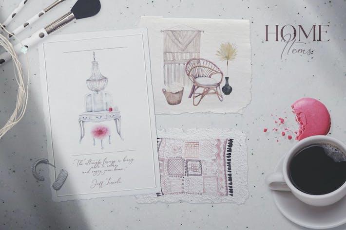 Thumbnail for Уютный дом - акварельные предметы домашнего обихода