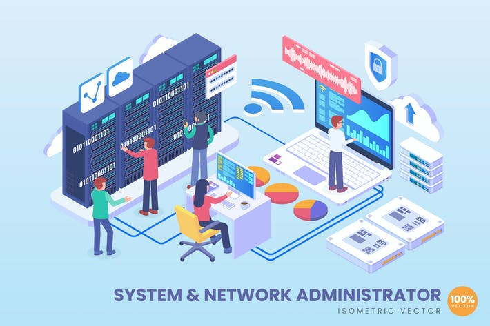 Isometric System & Network Administrator Vector
