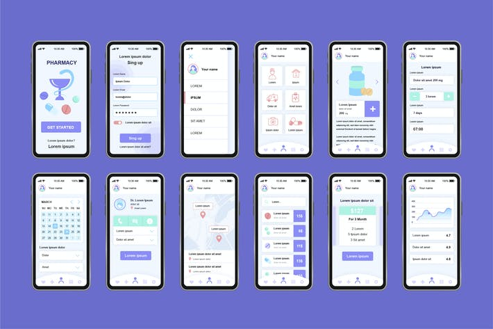 Thumbnail for GUI Layout Pharmacy Unique Mobile App UI Kit
