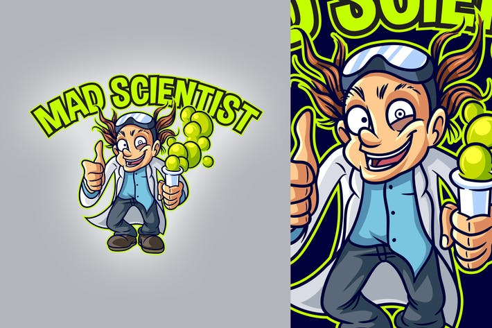 Thumbnail for Cartoon Mad Scientist or Professor Mascot Logo