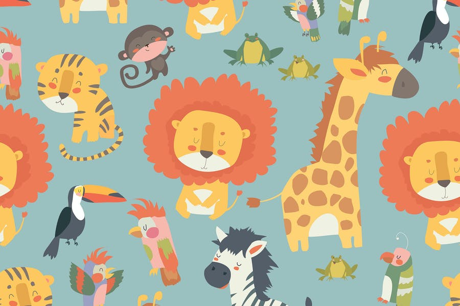 Happy jungle animals seamless pattern. Vector