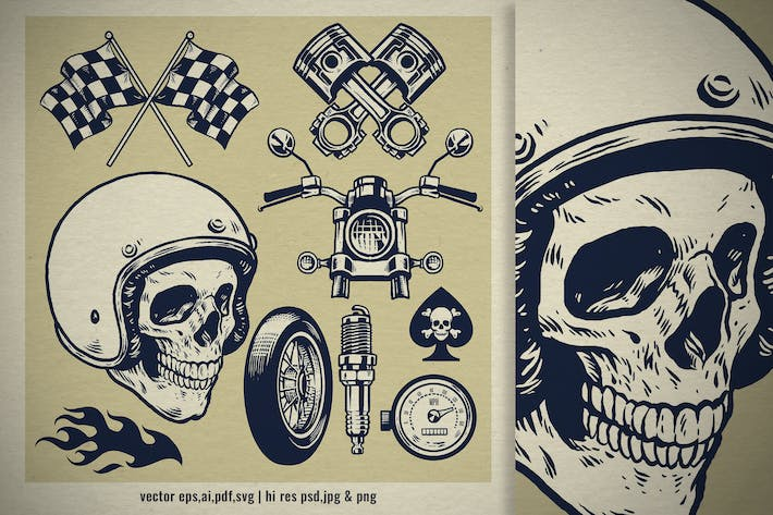 Thumbnail for set of hand drawn vintage motorcycle concept