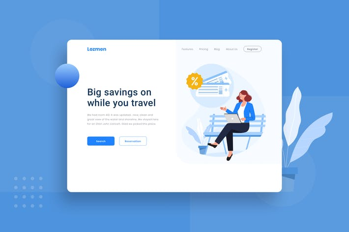 Thumbnail for Search for best deals landing page Illustration