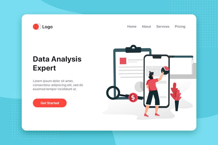 Thumbnail for Data Analysis flat concept for Landing page