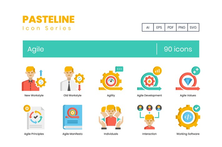90 Agile Icons - Pasteline Serie