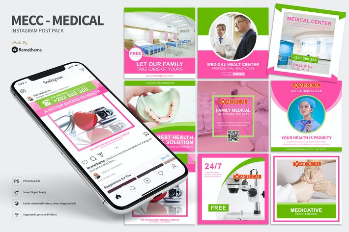 Thumbnail for Mecc - Medical and Health Instagram Post Pack HR
