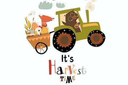 Cartoon glückliche Tiere Reiten auf Traktor
