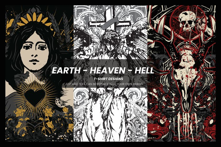 Thumbnail for Earth - Heaven - Hell T-shirt Designs