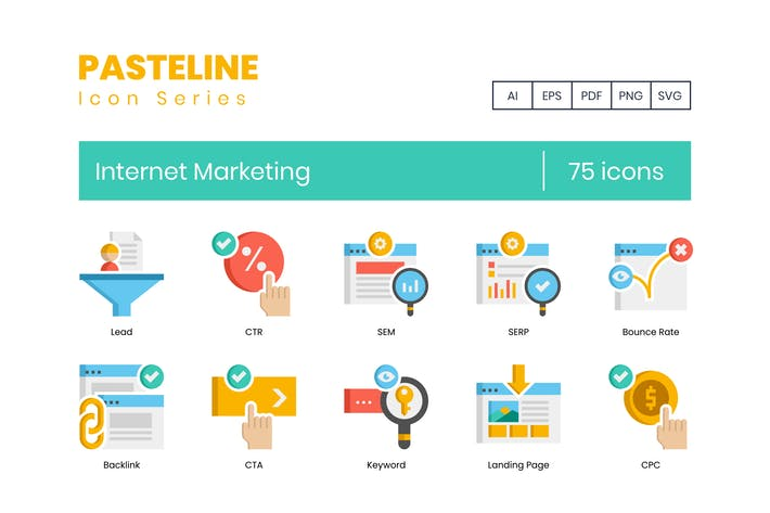 Thumbnail for 75 Internet Marketing Flat Icons