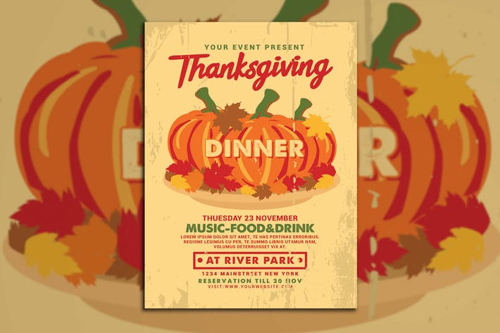 Thanksgiving Dinner Flyer - Pumpkin Illustration