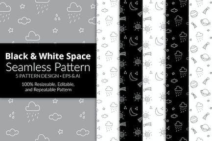 Black & White Space Seamless Pattern