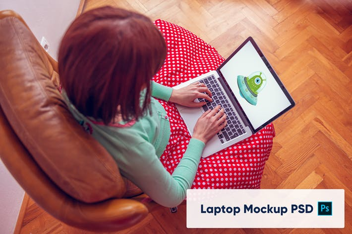 Thumbnail for Sitting woman using the laptop - Mockup PSD
