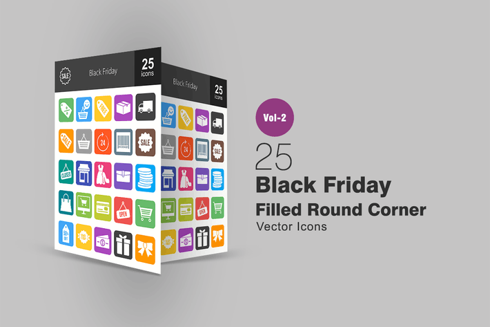 Thumbnail for 25 Black Friday Filled Round Corner Icons