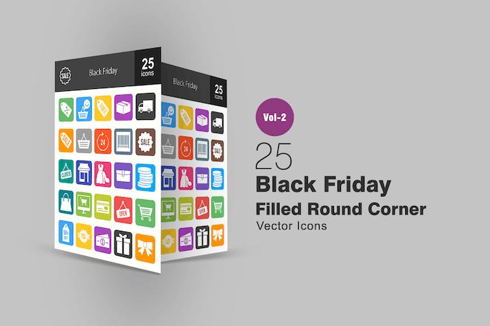 25 Black Friday Filled Round Corner Icons