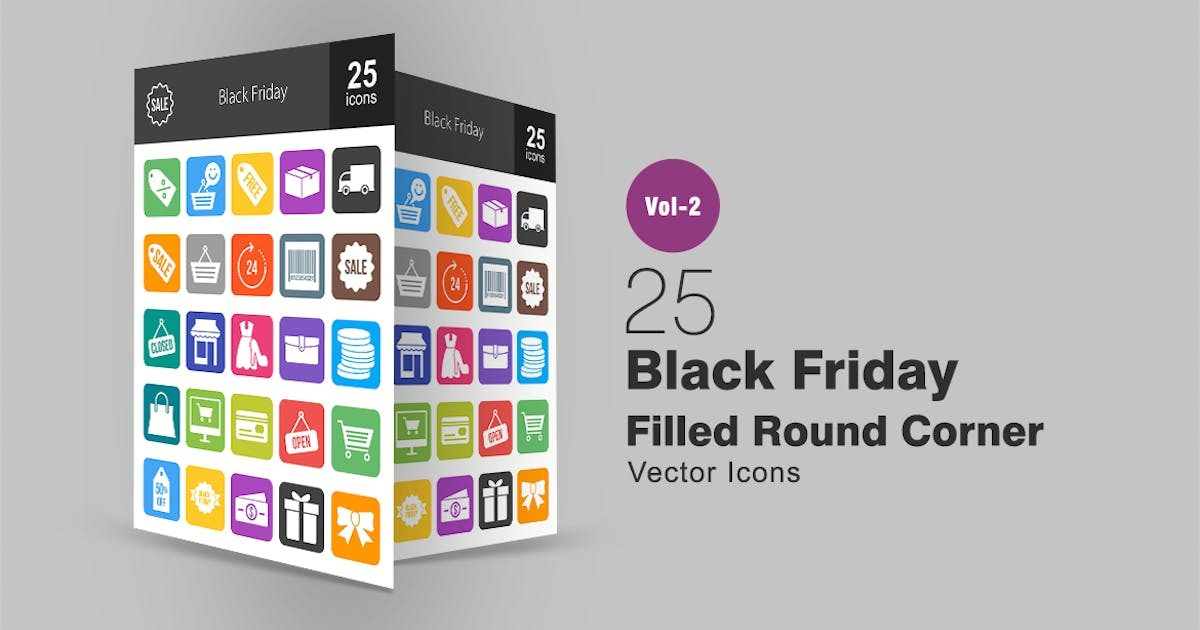 25 Black Friday Filled Round Corner Icons by Unknow