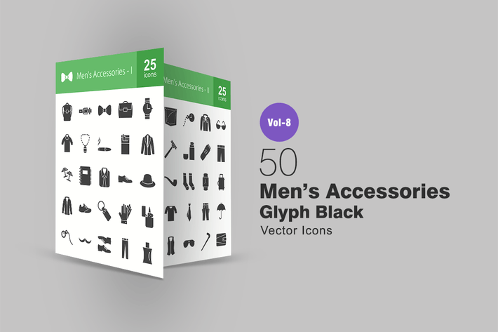 Thumbnail for 50 Men's Accessories Glyph Icons