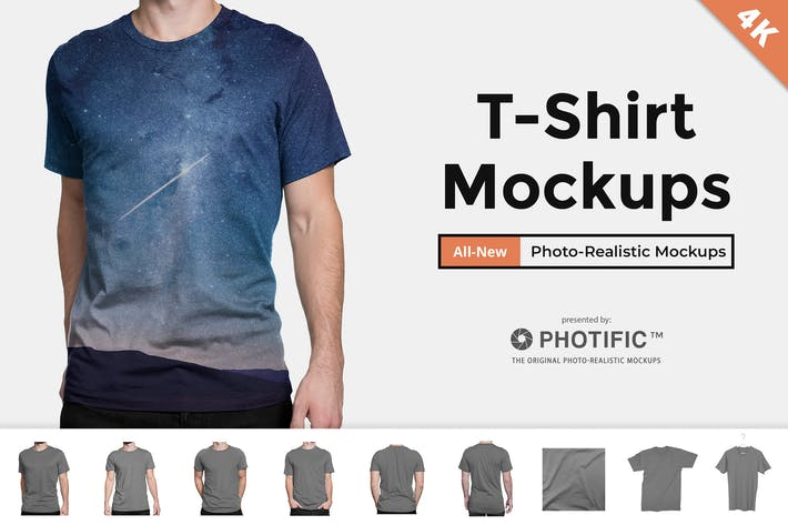 Thumbnail for Men's T-Shirt Fit On-Model Mockups