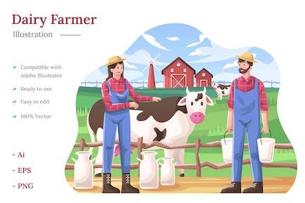 Illustration des Milchbauern