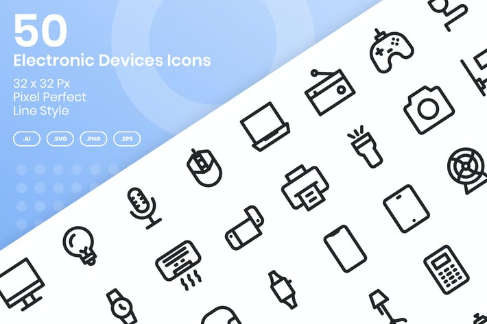 Thumbnail for 50 Electronic Devices Icons Set - Line