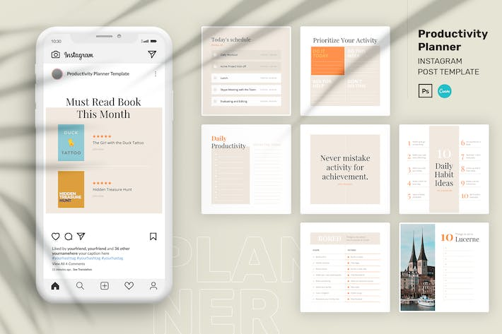 Thumbnail for Productivity Planner Instagram Post Canva Template