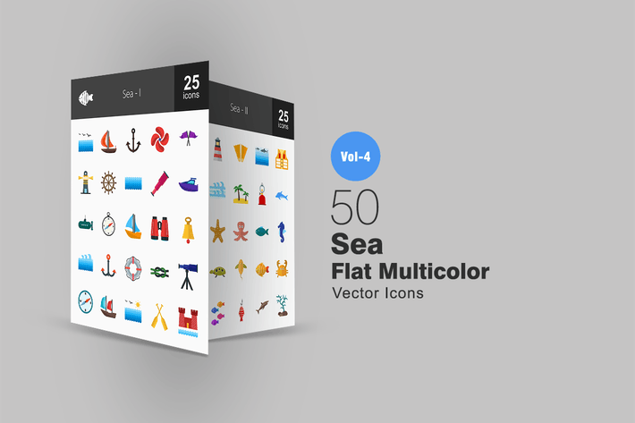 Thumbnail for 50 Sea Flat Multicolor Icons