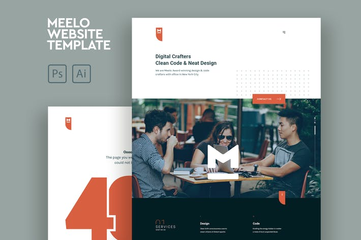Thumbnail for Meelo - Corporate One Page PSD & AI Template