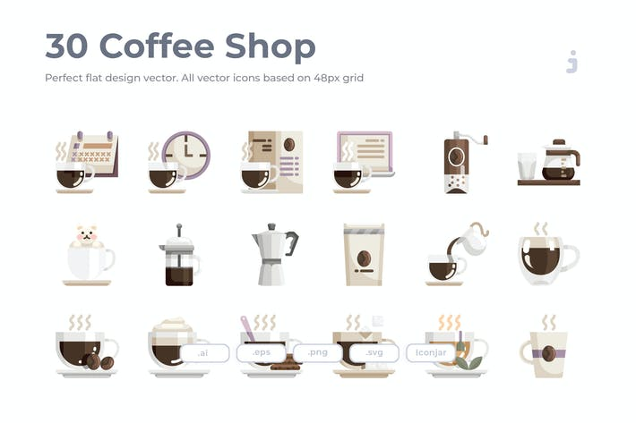 Thumbnail for 30 Coffee Shop Icons - Flat