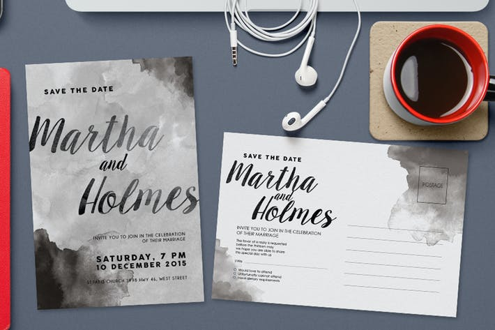 Thumbnail for Black & White Watercolor Invitation