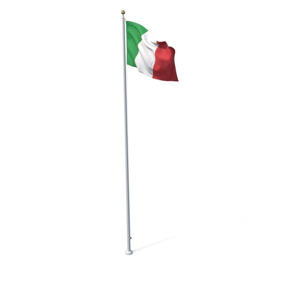 Flag On Pole Italy