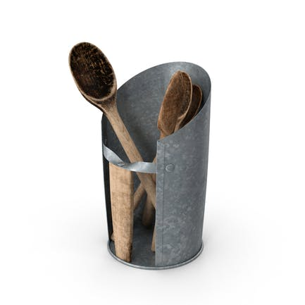 Wooden Spoons in Holder