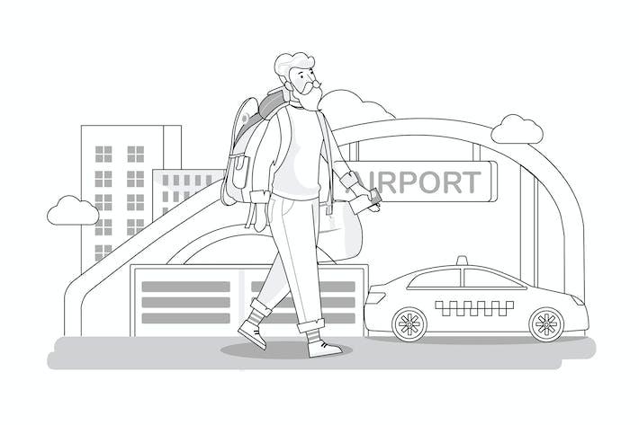 Концепция путешествия - Тонкая линия художественный стиль иллюстрации