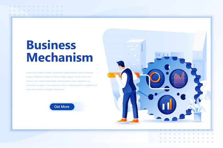 Thumbnail for Business Mechanism Flat Landing Page Header