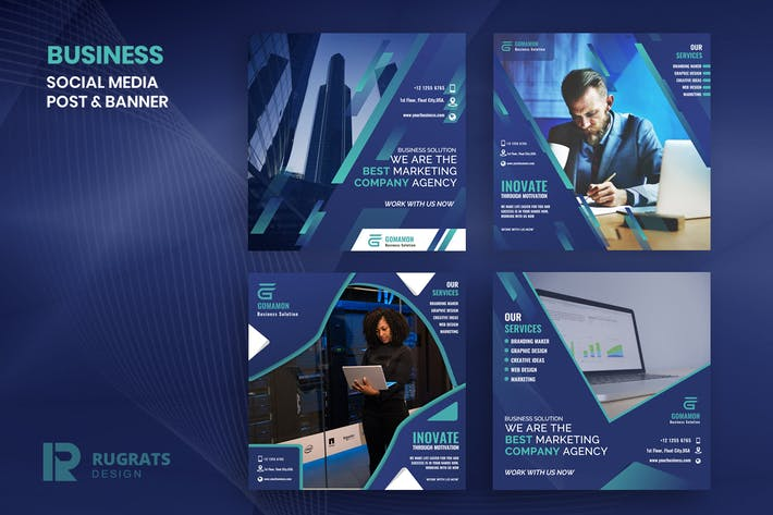 Thumbnail for Business R2 Social Media Post Template