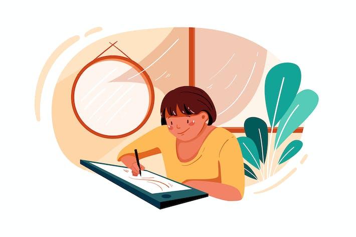Thumbnail for Mitarbeiterin arbeitet an einem Projekt