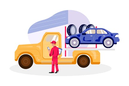 Towing Service Service Illustration