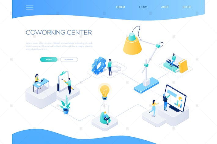 Thumbnail for Coworking center - colorful isometric web banner
