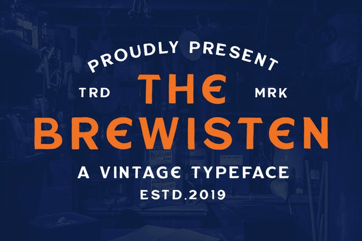Thumbnail for Brewisten Vintage Font + Extras Badges Logo