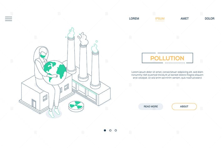 Thumbnail for Air pollution - line design style isometric banner
