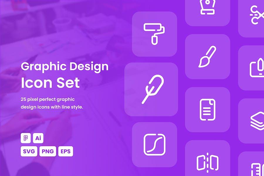 Graphic Design Dashed Line Icon Set