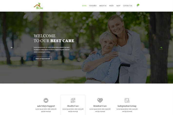Thumbnail for Bcare - Senior Care PSD Template