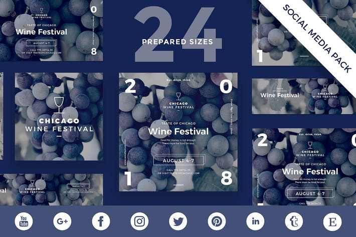 Cover Image For Wine Festival Social Media Pack Template