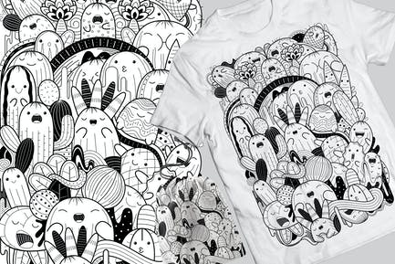 Cactus Doodle T-Shirt & Tasche