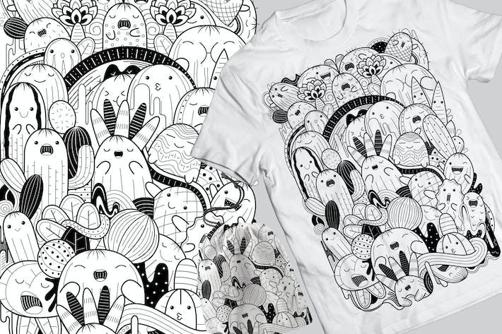 Thumbnail for Cactus Doodle T-Shirt & Tasche