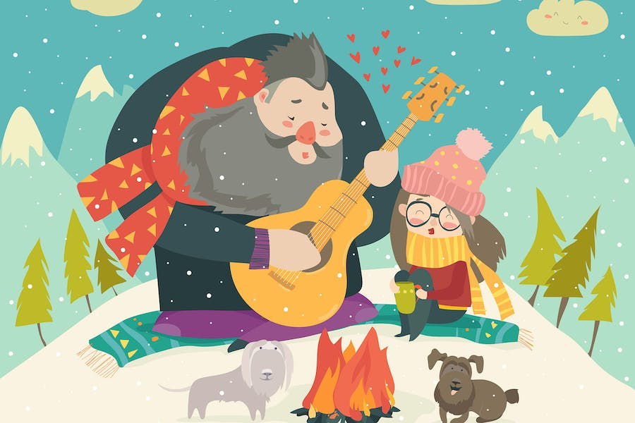 Boy plays guitar for a girl in the winter forest.