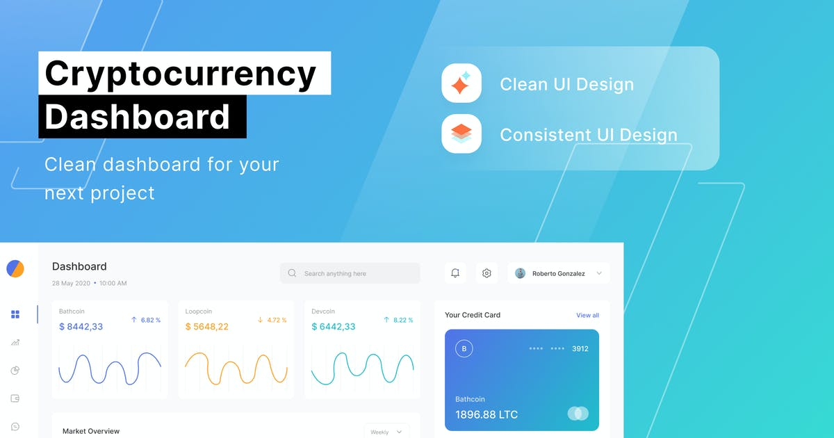 Download Cryptocurrency Dashboard by DimoGraphic