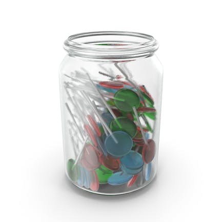 Jar With Flat Lollipops