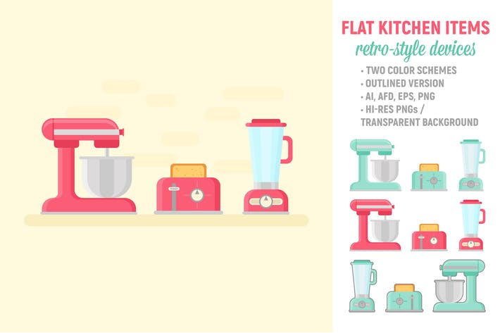 Thumbnail for Flat Retro Kitchen Items