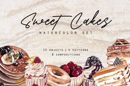 Sweet Cakes Aquarell und Muster