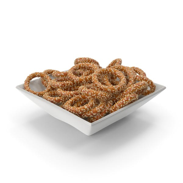 Square Bowl with Pretzel Rings with Sesame