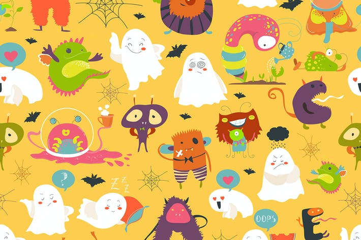 Thumbnail for Seamless pattern funny cartoon ghosts and monsters